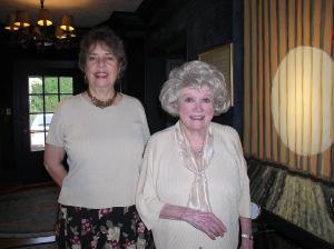 """Phyllis and me in front of the """"spotlight"""" painting in her entrance hall"""