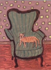 Phyllis's painting of a cat on a chair. (Not her cat, which was white, and not even sure this is her chair.)