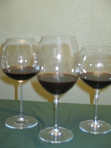 Three crystal wine glasses -- two Waterford, one not. (Shawn - the wine in here is the M-O '01 Petite Sirah -- I knew there was a use for it!)