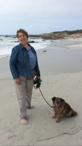 Rezzie the dog and me on the beach.